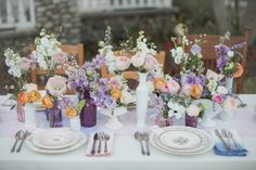 Springtime florals, pastel table setting: Event Design Styling from Harmony Creative Studio, Flowers by Recycled Love Story, Mismatched Vintage China from The Vintage Table Co. Spring Wedding, Boho Wedding, Floral Wedding, Wedding Flowers, Garden Wedding, Blue Purple Wedding, Wedding Cups, Wedding Tables, Orange Table