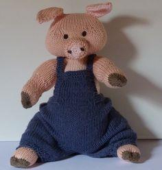 Cochon assis en coton jouet ou objet de décoration de la boutique MailleNature sur Etsy