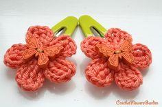 Crochet Flowers Garden: Set of 2 hair clips/ ORANGE crochet flowers - Hair...