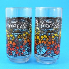 Vintage Tumbler Coca Cola Coke 1970s Flower by JollyPollyPickins,