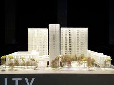TIM New Headquarters presentation model / scale. 1:100 / materials. SLS 3D print, acrylic sheet, cardboard architect. UNO-A Architetti Associati / model team. B22, Studio KU+ / production. The Fablab Milano, Falegnameria Bini 2016