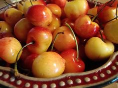 cherries - LOVE white cherries!!  Tip, when they are firm, they are sweeter!