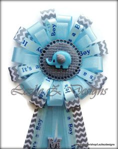 Elephant Baby Shower Corsage Boy Safari Pin por LezlieZDesigns