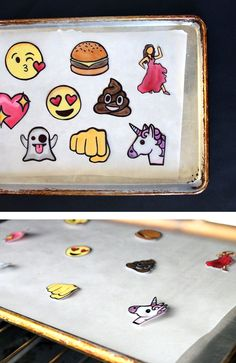 Make your own emoji lapel pins from shrink plastic. So fun to make, wear, and gift! Free printable cards for gifting. Diy Shrink Plastic Pins, Plastic Fou, Easy Diy Crafts, Crafts To Make, How To Make Keychains, Shrink Art, Shrink Film, Shrinky Dinks, Do It Yourself Crafts