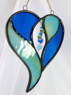 Two Hearts in One by the Sea Aqua and Blue por OdysseyCreations