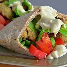 Baked Falafel Pitas - A classic Middle Eastern meal made to satisfy the health-minded.