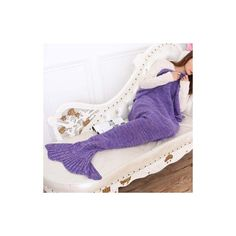 Warmth Wool Knitting Sofa Mermaid Shape Purple Blanket (665 UAH) ❤ liked on Polyvore featuring home, bed & bath, bedding, blankets, purple, mermaid blanket, purple bed linen, wool knit blanket, wool blanket and patterned bedding