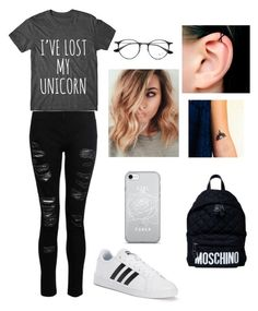 """""""rea"""" by louiza-ap on Polyvore featuring adidas, Moschino, Disney and Ray-Ban"""