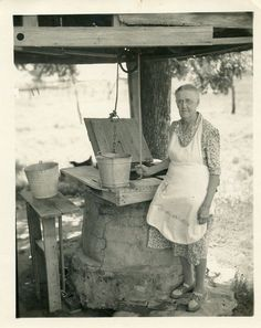 1940's FARM photo / Granny in Full Apron Draws Bucket of Water from Well