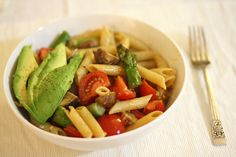 looking good (except for the avocado): pasta, cherry tomatoes, mushrooms, asparagus, lemon