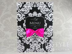 Eleganckie perłowe karty menu na przyjęcie weselne, czarne tło i białe ornamenty, piękna ręcznie wiązana kokarda CA-09-M