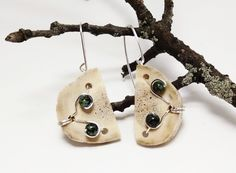 "Use code ""PIN15"" at checkout for 15% off!! Tree Jasper Beaded Michigan Deer Antler Earrings, One of a Kind Antler Jewelry, Wire Wrapped Earrings by JujusNature on Etsy"
