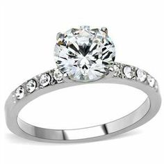 ENGAGEMENT RING - Stainless Steel 2 Carat 4 Prong Cubic Zirconia Ring HopeChestJewelry. $13.49