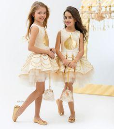 ALALOSHA: VOGUE ENFANTS: JUNONA Girls Gold Beaded Shell Dress & Handbag