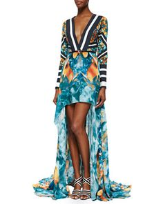 Mixed-Print Long-Sleeve High-Low Gown by Elie Saab at Bergdorf Goodman.
