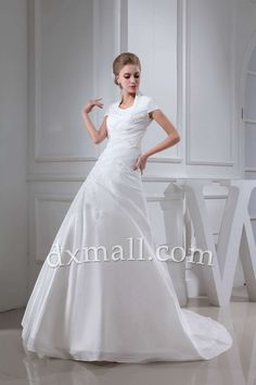 Drop Waist Wedding Dresses High Neck Chapel Train Taffeta Satin Ivory 01001070173