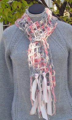 Tunisian Lace in Araucania Yelcho Yarn - a perfect blend of Mohair/Silk/Wool Gray / Peach / Coral - I love this combination! This is a ...