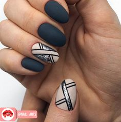 130 cute spring nail art designs to spruce up your next mani page 44 Cute Spring Nails, Spring Nail Art, Dark Nails, Matte Nails, Classy Nails, Trendy Nails, Grey Nail Art, Dark Nail Art, Grey Nail Designs