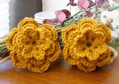 Pair of Antique Gold 3D Crocheted Flower Appliques - Burnt Orange Yellow - Perfect for Hair Clips