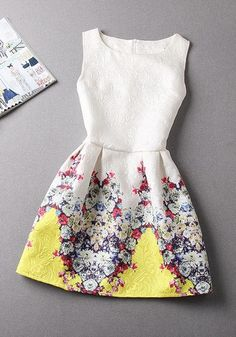 Yellow Floral Print Pleated Sleeveless Cotton Dress
