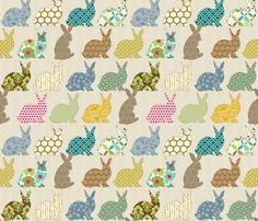 Year of the Colorful Rabbit by littlerhodydesign, from Spoonflower
