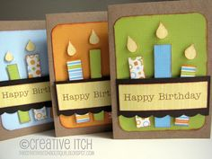 Love these!   original link:  http://thecreativeitchboutique.blogspot.com/2011/10/paper-pieced-candle-birthday-card.html