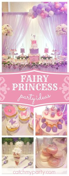 Don't miss this incredible Fairy Princess 1st birthday party!! The balloon garland is amazing!! See more party ideas and share yours at CatchMyparty.com #partyideas #catchmyparty #fairy #1stbirthday #girlbirthday