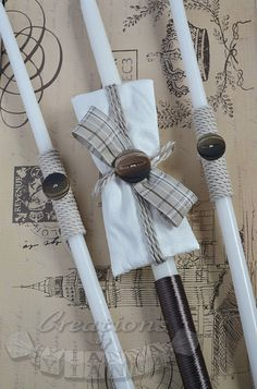 Boys baptismal candles-lambathes-Baptism Candles for Boys-Greek Baptism Buttons. Silk dupioni, natural cotton ribbon, cord and buttons. Cute creation for the Baptism. *Candle set is one 24 inches and two 21 inches matching candles. *Complete matching set is available on my