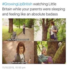 I'm almost 20 and my dad and I won't watch this around my mom. British Memes, British Comedy, Great British Bake Off, Mom Humor, Funny Humor, Funny Stuff, Random Stuff, Growing Up British, Little Britain