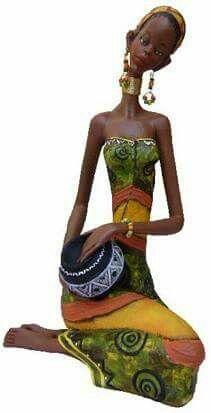Printiar African American Figurines, African American Art, Black Girl Art, Black Women Art, Clay Fairy House, Cardboard Box Crafts, African Paintings, African Dolls, Black Figure