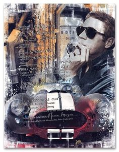 Devin Miles: The Magnificent - Steve McQueen Cobra Art, Ac Cobra, Steve Mcqueen Style, Steve Macqueen, Vintage Sports Cars, Art Fair, Belle Photo, Les Oeuvres, Collage Art
