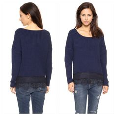 Urban Outfitters JOA Oversized Navy Sweater Urban Outfitters Oversized Navy Sweater Delicate eyelash lace trims the hem of this oversized JOA sweater. Slim banding traces the round neckline. Long sleeves. Loose fitting can also fit size bigger size.                                    Fabric: Ribbed knit. 100% acrylic. Dry clean. Imported,  Sold Out Online                                        Measurements Length: 24in / 61cm, from shoulder Measurements from size Small Urban Outfitters…