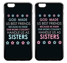 Amazon.com: BFF Best Friends Couple Matching Phone Cases - God Made Us Best Friends Bumper Rubber iPhone 6,6plus,6s,SE cases: Cell Phones & Accessories