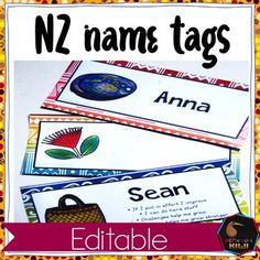 Name Tags for New Zealand classes. Two designs. All editable in Powerpoint. Simply write your students name in and print! Great for setting up your classroom at back to school! Could also be used as: - Reading group labels - Centre labels - Classroom job Classroom Jobs, Classroom Setting, Classroom Organization, Montessori Elementary, Montessori Activities, Name Tag Design, Printable Name Tags, Waitangi Day, Class Games