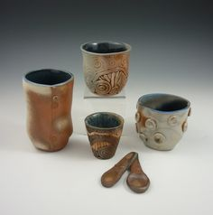 Wood-fired pottery cups, spoons, coil-built, slab-built.