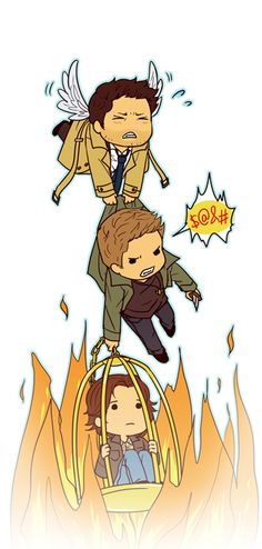 Supernatural: Castiel, Dean and Sammy Castiel, Supernatural Fans, Supernatural Wallpaper, Crowley, Supernatural Gabriel, Supernatural Cartoon, Supernatural Drawings, Chibi, The Lord