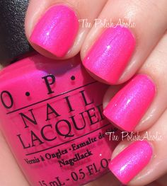 OPI Hotter Than You Pink.  A bright, bubble gum neon.  Looks great with a pedi.  Closest polish I have to it is Orly's Hawaiian Punch, but the Hawaiian punch is a shade or two darker and not neon.