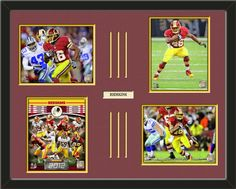 Four framed 8 x 10 inch Washington Redskins photos of Alfred Morris  with a customizable nameplate*, double matted in team colors to 28 x 22 inches.  The lines show the bottom mat color.  $159.99 @ ArtandMore.com