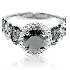 2ct Diamond Ring 1ct Black Diamond Solitaire With Black and White Side Diamonds White Gold by Rings-MidwestJewellery.com http://blackdiamondgemstone.com/jewelry/wedding-anniversary/engagement-rings/2ct-diamond-ring-1ct-black-diamond-solitaire-with-black-and-white-side-diamonds-white-gold-com/