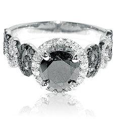 #blackdiamondgem 2ct Diamond Ring 1ct Black Diamond Solitaire With Black and White Side Diamonds White Goldby Rings-MidwestJewellery.com - See more at: http://blackdiamondgemstone.com/jewelry/wedding-anniversary/engagement-rings/2ct-diamond-ring-1ct-blac
