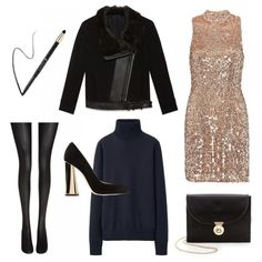 Evening - Thought it was too cold to wear that minidress? Wrong! Make like Twiggy by layering a turtleneck underneath your sequin shift dress. Add closed-toe heels, opaque tights, an oversized shearling moto jacket and kohl-rimmed eyes to complete the evening ensemble.
