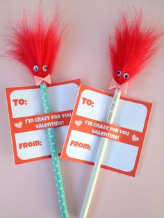 *Rook No. recipes, crafts & whimsies for spreading joy*: Retro Craft: Crazy Hair Pencils and Valentine Printable Kinder Valentines, Valentine Crafts For Kids, Easy Crafts For Kids, Valentines Diy, Kid Crafts, Holiday Fun, Holiday Crafts, Thanksgiving Crafts, Holiday Decor