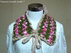 * Charin Hand made *スラブ糸で編んだ付け襟/アクリル100%