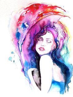 Original Watercolor Painting Artwork Woman Fashion by LanasArt, $85.00