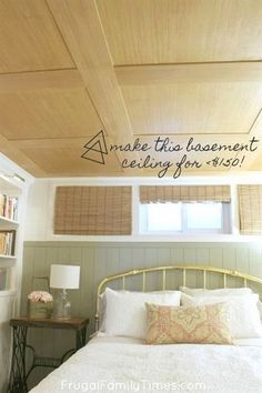 How to Make a Basement Plywood Ceiling (that looks like wood paneling!) Are you looking for basement ceiling options? We wanted an idea for our low basement ceiling – we found one! A special plywood. This idea incorporates the beauty of a w Plywood Ceiling, Basement Ceiling Options, Basement Windows, Basement Walls, Basement Bedrooms, Basement Flooring, Wood Ceilings, Basement Ideas, Ceiling Tiles