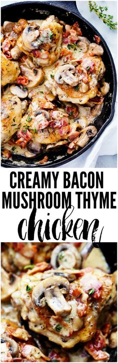 Creamy Bacon Mushroom Thyme Chicken is honestly one of the best skillet meals you will ever make! Tender chicken with a creamy sauce with bacon, mushroom, and thyme. The flavor is out of this world!