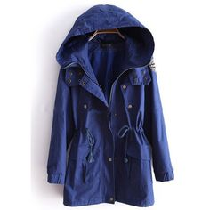 Blue Hooded Long Sleeve Drawstring Trench Coat ($58) ❤ liked on Polyvore