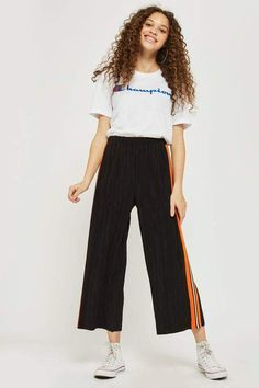 Topshop Side striped plisse wide leg trousers