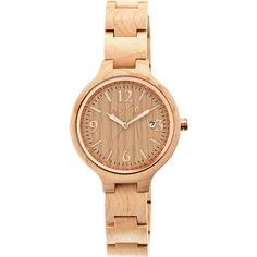 Earth Wood Nodal Watch Women's ($99) ❤ liked on Polyvore featuring jewelry, watches, fashion accessories, tan, wooden watches, wood jewelry, wooden jewelry, wooden wrist watch and wood watches