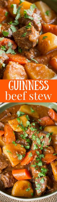 Guinness Beef Stew - Don't wait for St. Patrick's Day to enjoy this amazing stew. Tender chunks of beef are cooked uncovered in a rich thick and flavorful gravy with carrots and potatoes. Beef Recipes, Soup Recipes, Dinner Recipes, Cooking Recipes, Irish Recipes, Recipies, English Recipes, Cooking 101, Fall Recipes